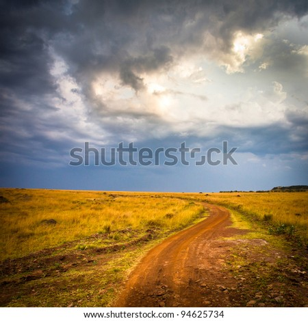 Road in field and stormy clouds - stock photo