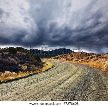road in fields - stock photo