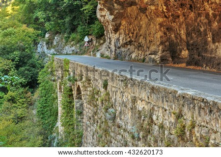 Road in gorge in the Alpes-Maritimes, France - stock photo