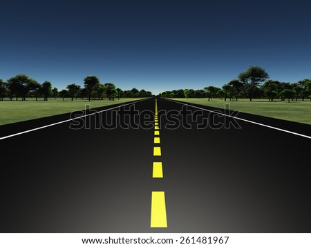 Road in green landscape - stock photo