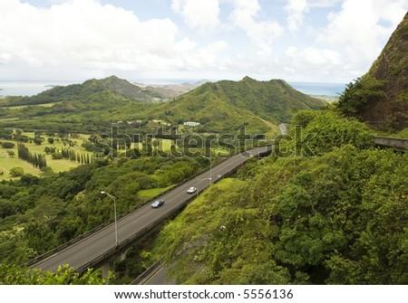 Road in hawaii - stock photo