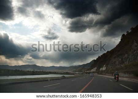 road in mountain, Jilin Province, China - stock photo