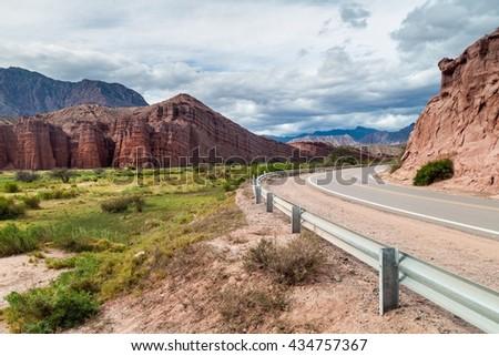 Road in Quebrada de Cafayate valley, Argentina - stock photo