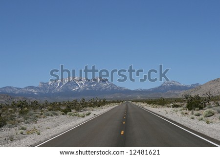 Road in Spring Mountains, Nevada - stock photo