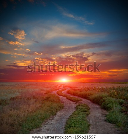 road in steppe against sunset in sky - stock photo