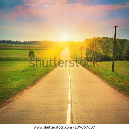 road in sunlight - stock photo