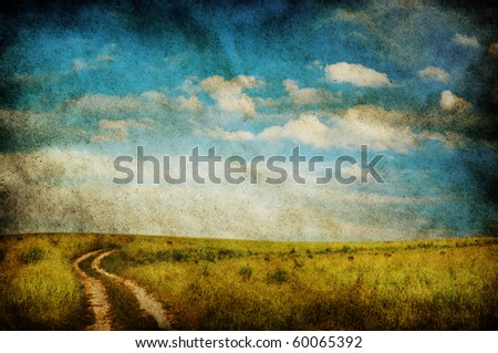 road in the fields, old grungy illustration - stock photo