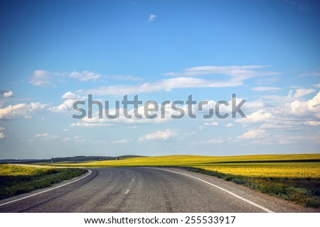 Road in the future, blue sky and road - stock photo