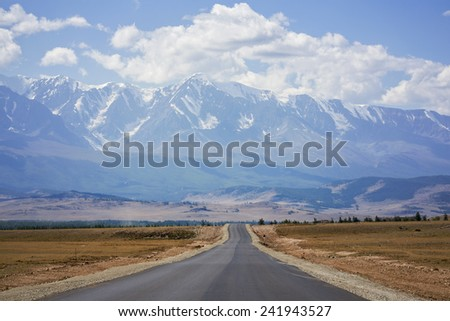 Road in the mountains, Chui tract, Kuray Mountains - stock photo