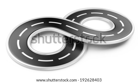 Road in the shape of infinity. 3d illustration isolated on a white background. - stock photo