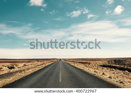 road in to sky landscape - stock photo