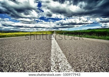 road in tuscany - stock photo