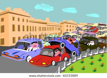road incident in rush hours caused a traffic jam - stock photo