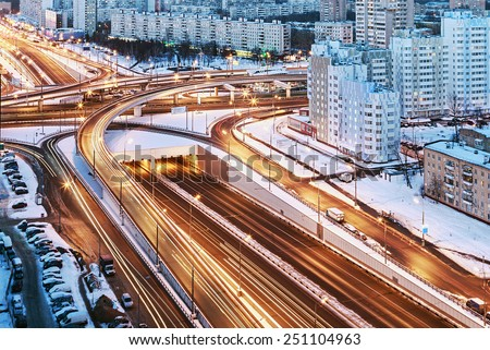 road junction in the streets of Moscow in winter night. Russia - stock photo
