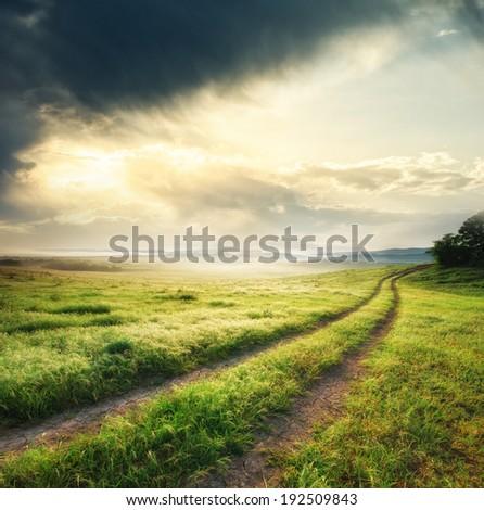 Road lane and deep sky. Nature design.  - stock photo