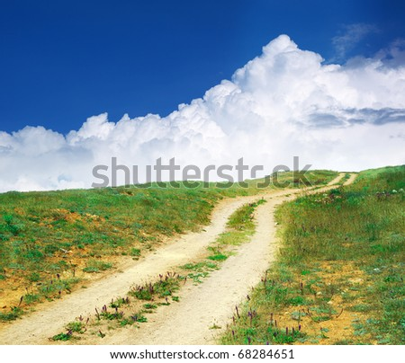 Road lane to sky. Nature composition. - stock photo