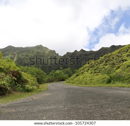 Road leading into a tropical area with mountains in background with clouds and blue sky - stock photo