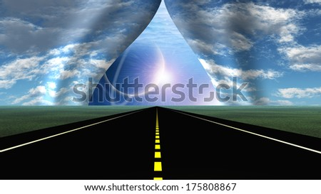 Road leads into rip in curtain of sky - stock photo