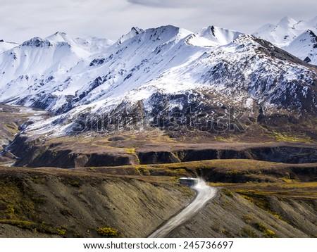 Road Leads To Nowhere - Denali National Park, Alaska - stock photo