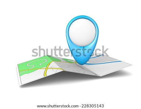 Road Map Sheet with Blue Empty Pointer 3D Illustration - stock photo