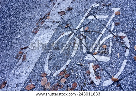 Road marking, bicycle - stock photo