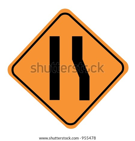 Road narrows merge left sign isolated on a white background - stock photo