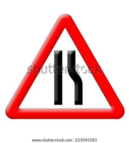 Road narrows traffic sign isolated over white background - stock photo