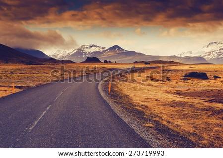 Road nature background - stock photo