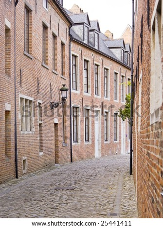 Road of typical houses from the Groot Begijnhof (Big Beguinage)in Leuven, Belgium - stock photo