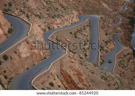 road on mountain - stock photo