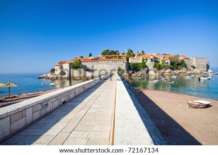 Road on the island Sveti Stefan. Montenegro - stock photo