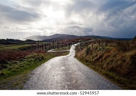 Road on the isle of Islay, Scotland - stock photo