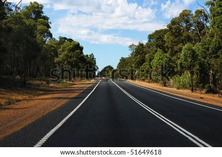 road passing through the bush - as a symbol of achievement - stock photo