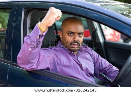 road rage incident - stock photo