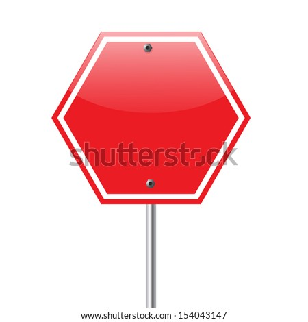 Road, red sign isolated on white background. - stock photo