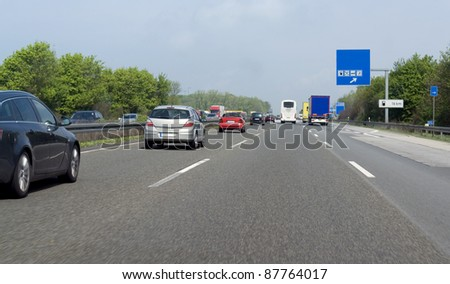 road scenery on a highway in Southern Germany at summer time - stock photo