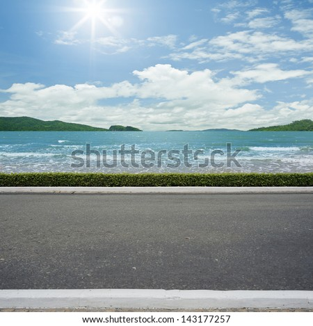 Road side beach view  background - stock photo
