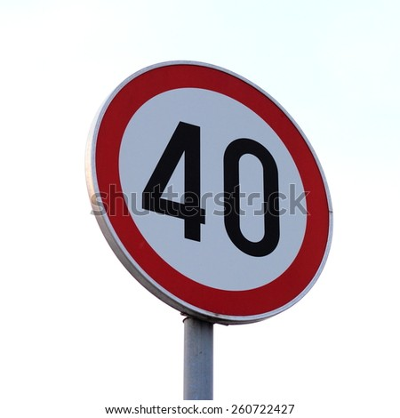 Road sign 40 - stock photo