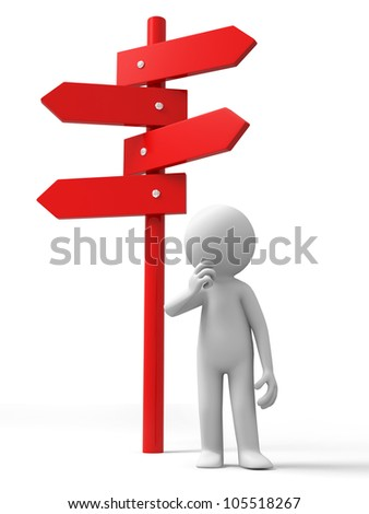 road sign/A man standing in front of a road sign - stock photo