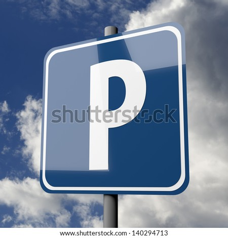 Road sign blue with letter P for parking on blue sky background - stock photo