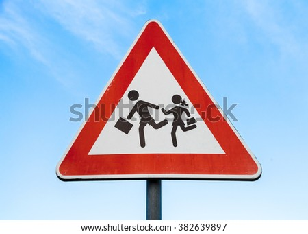 Road sign caution children over blue sky background - stock photo