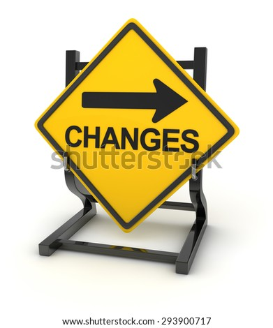 Road sign - changes ahead , 3d rendered image. - stock photo