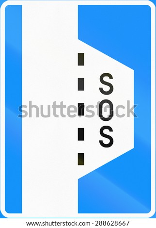 Road sign 567 - Emergency stopping bay - stock photo