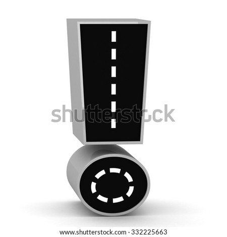 Road Sign Font 3d render Exclamation mark - stock photo