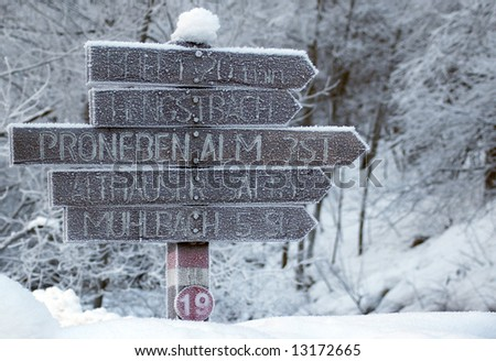road sign in Alps - stock photo