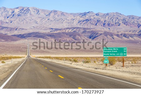 Road sign in the Death Valley,California - stock photo