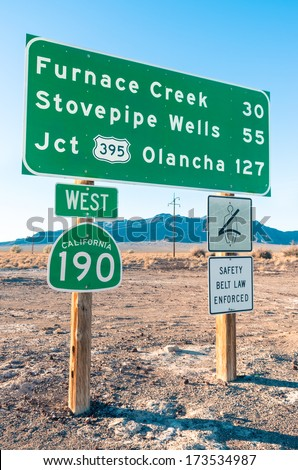 Road sign in the Death Valley - Highway West 190 - stock photo