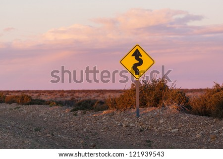 Road sign in the pampas, Patagonia, Argentina - stock photo