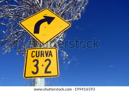 Road sign in the way to La Parva Ski Station, located near of Santiago city, Chile.  - stock photo