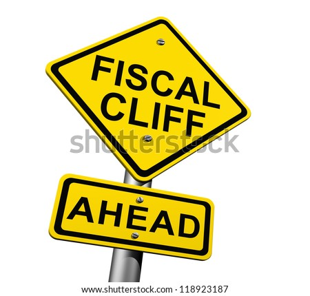 Road Sign Indicating Fiscal Cliff Ahead - stock photo